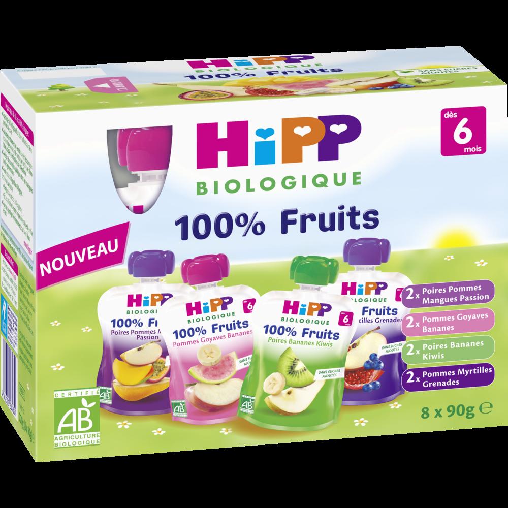 100% fruits 4 variétés BIO - dès 6 mois, Hipp (8 x 90 g)