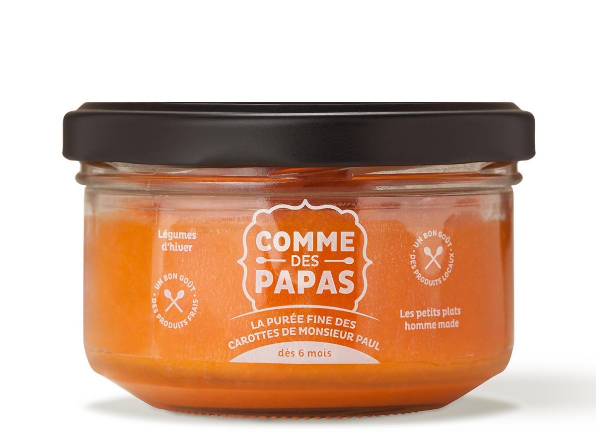 Purée fine de carottes de Monsieur Paul BIO - 6 mois, Comme des papas (130 g)
