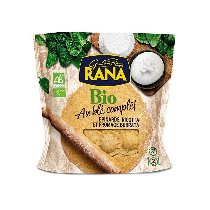 Ravioli ricotta épinards fromage burrata BIO, Giovanni Rana (250 g)