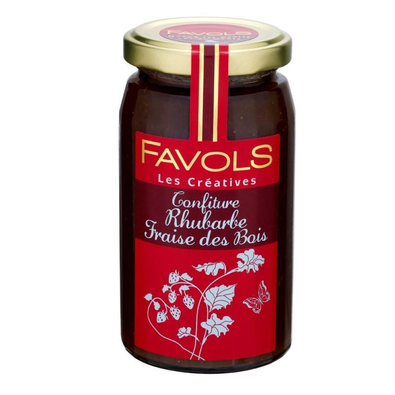 Confiture de rhubarbe et fraises des bois, Favols (270 g)