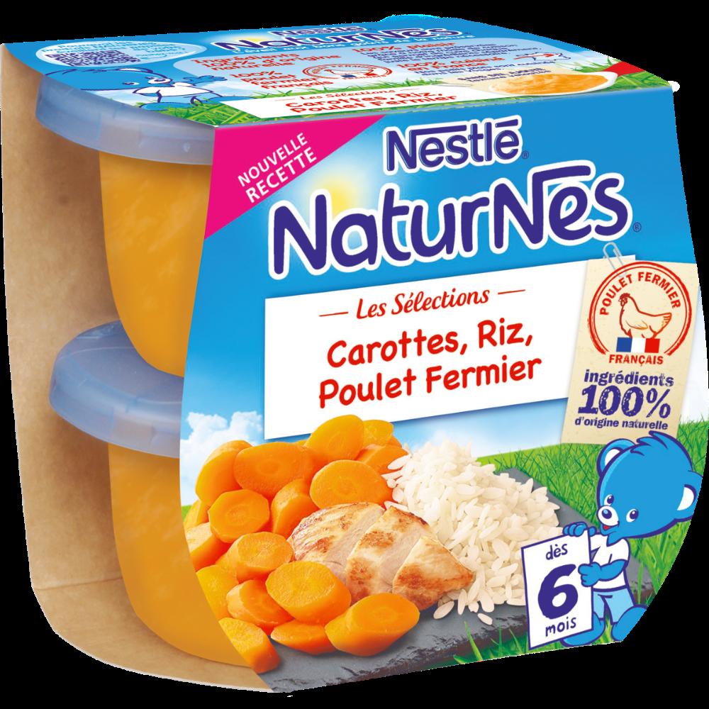 Les sélections carottes, riz, poulet fermier - dès 6 mois, Naturnes Nestlé (2 x 200 g)