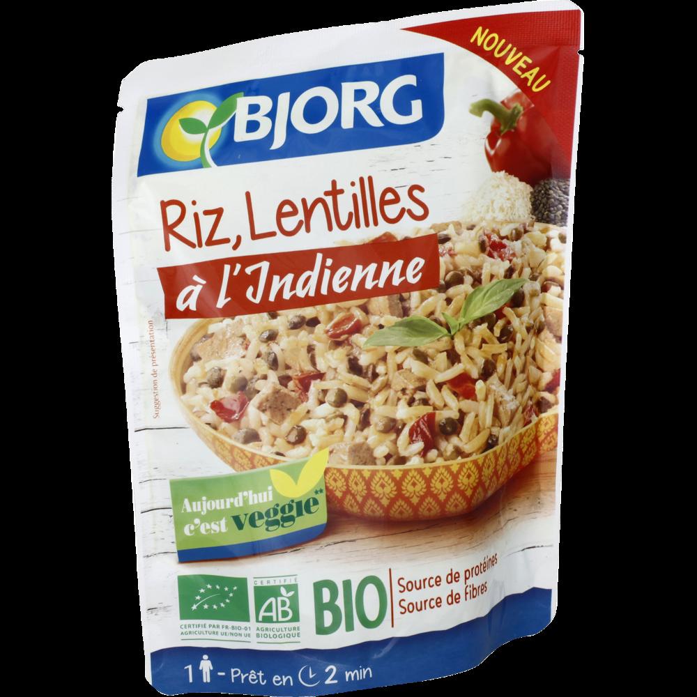 Riz lentilles à l'indienne BIO, Bjorg (220 g)