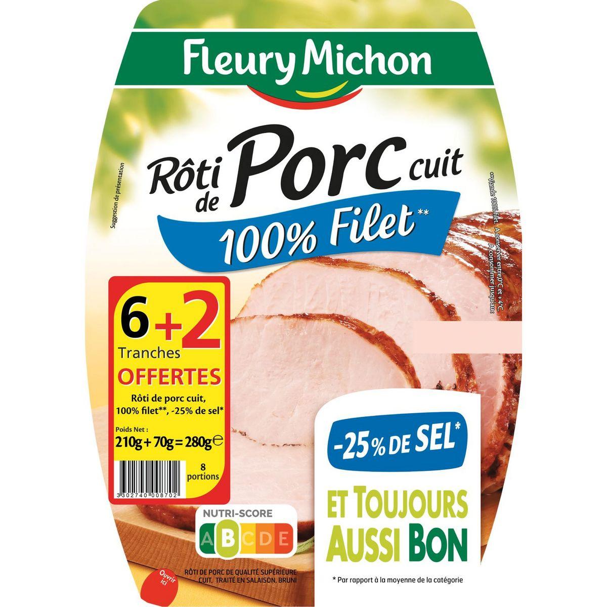 Rôti de porc cuit -25% de sel, Fleury Michon OFFRE SPECIALE (6 tranches + 2 OFFERTES, 280 g)