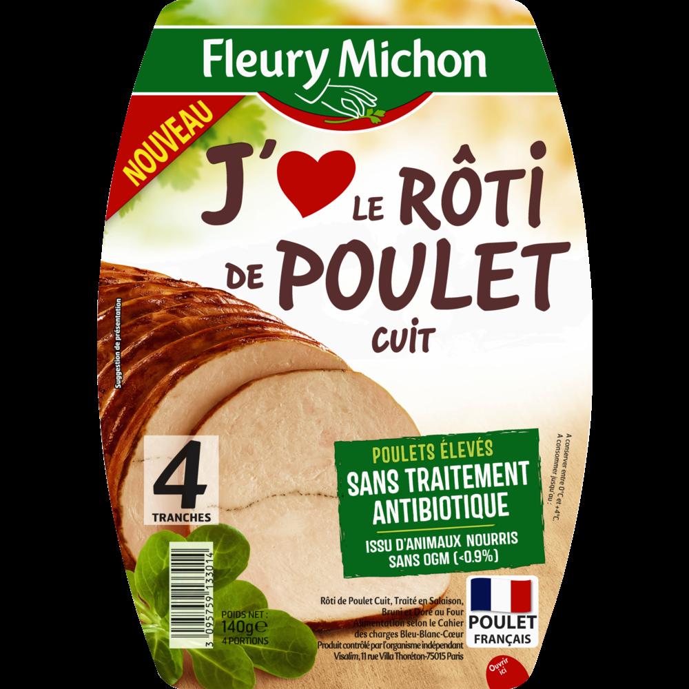 Rôti de poulet J'aime, Fleury Michon (4 tranches, 140 g)