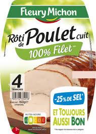 Rôti de Poulet cuit -25% de sel, Fleury Michon (4 tranches,160 g)