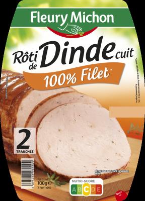 Rôti de dinde cuit 100% filet, Fleury Michon (2 tranches,100 g)