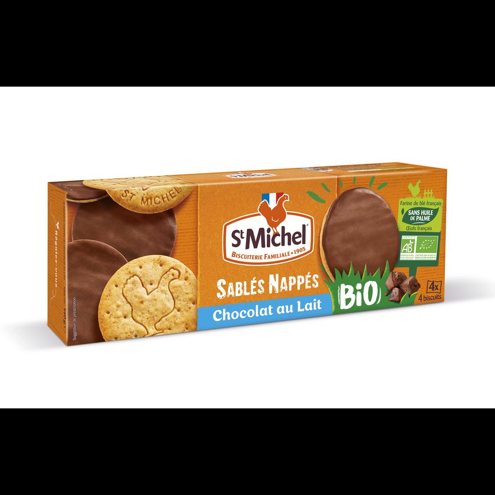 Sablés nappés de chocolat au lait BIO, St Michel (140 g)