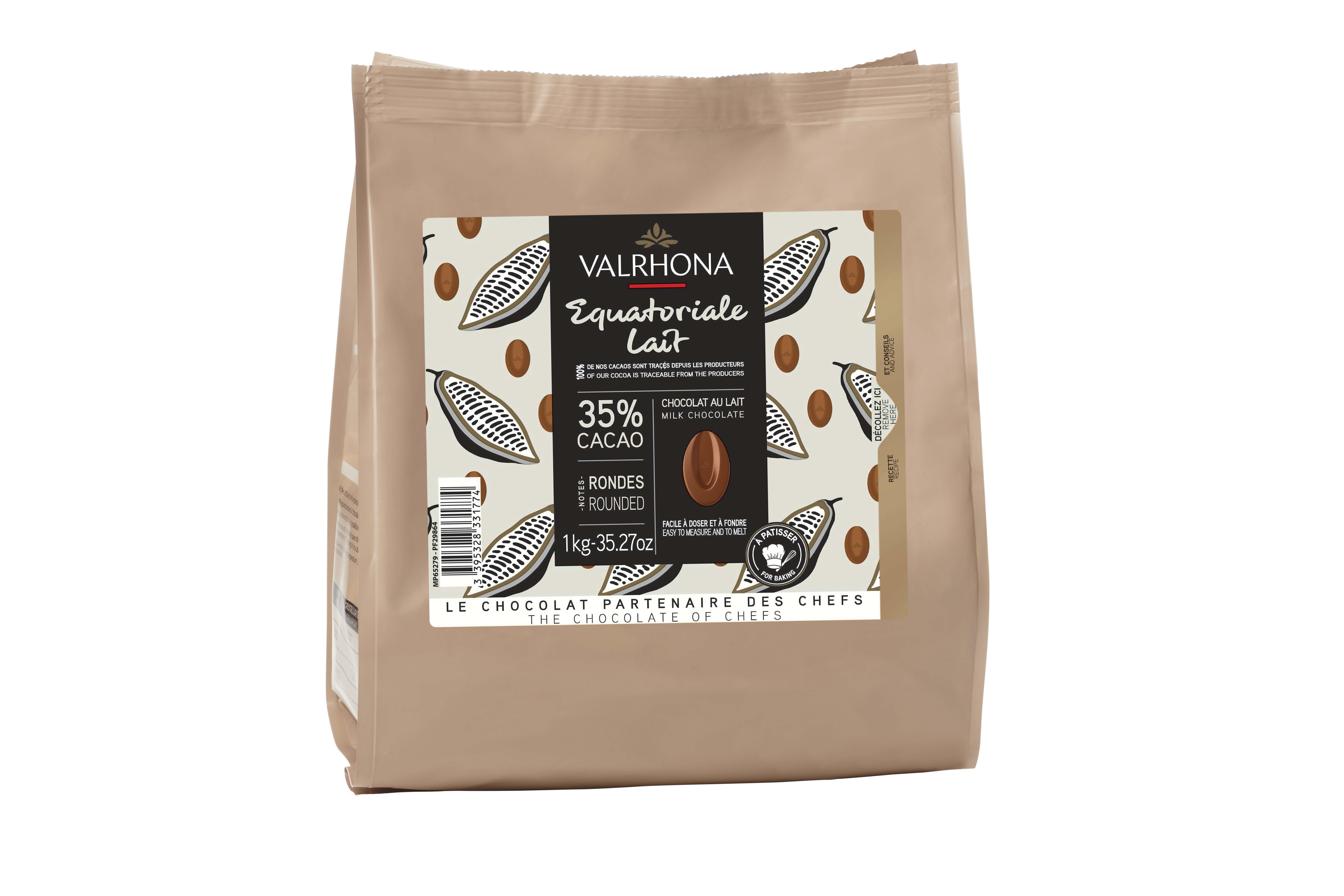 Sac fève Equatoriale lait 35%, Valrhona (1 Kg)