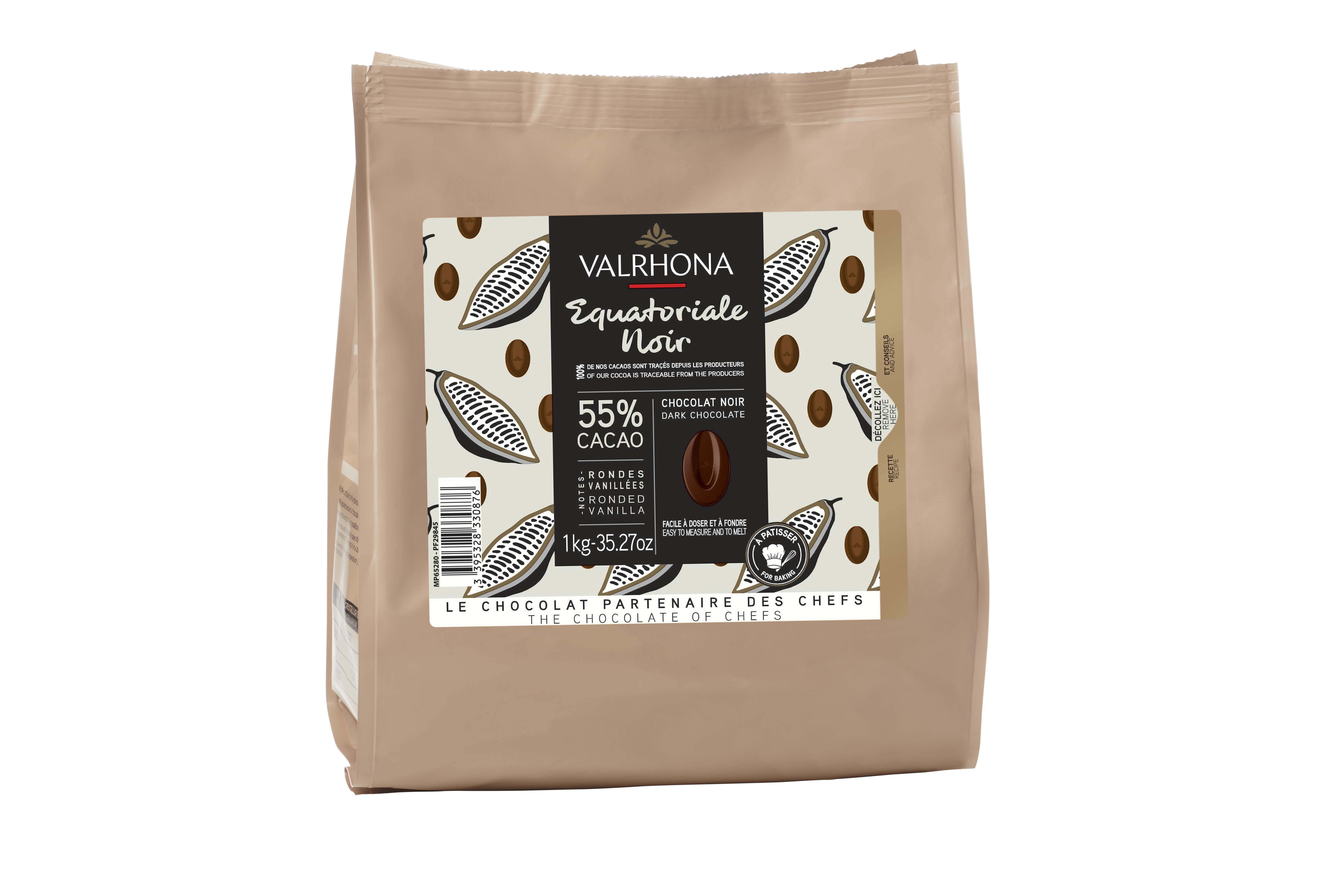 Sac fève Equatoriale noir 55%, Valrhona (1 Kg)