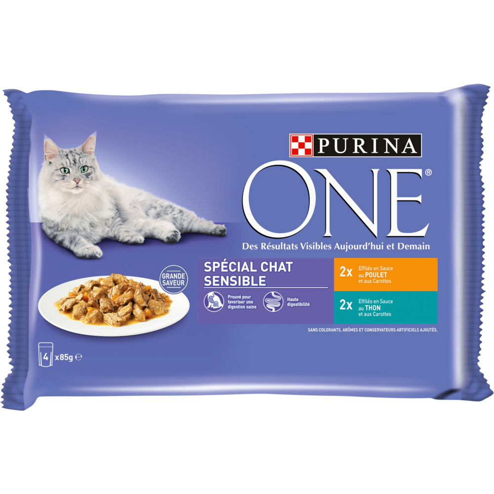 Sachets repas pour chat sensible au poulet et au thon, Purina One (4 x 85 g)
