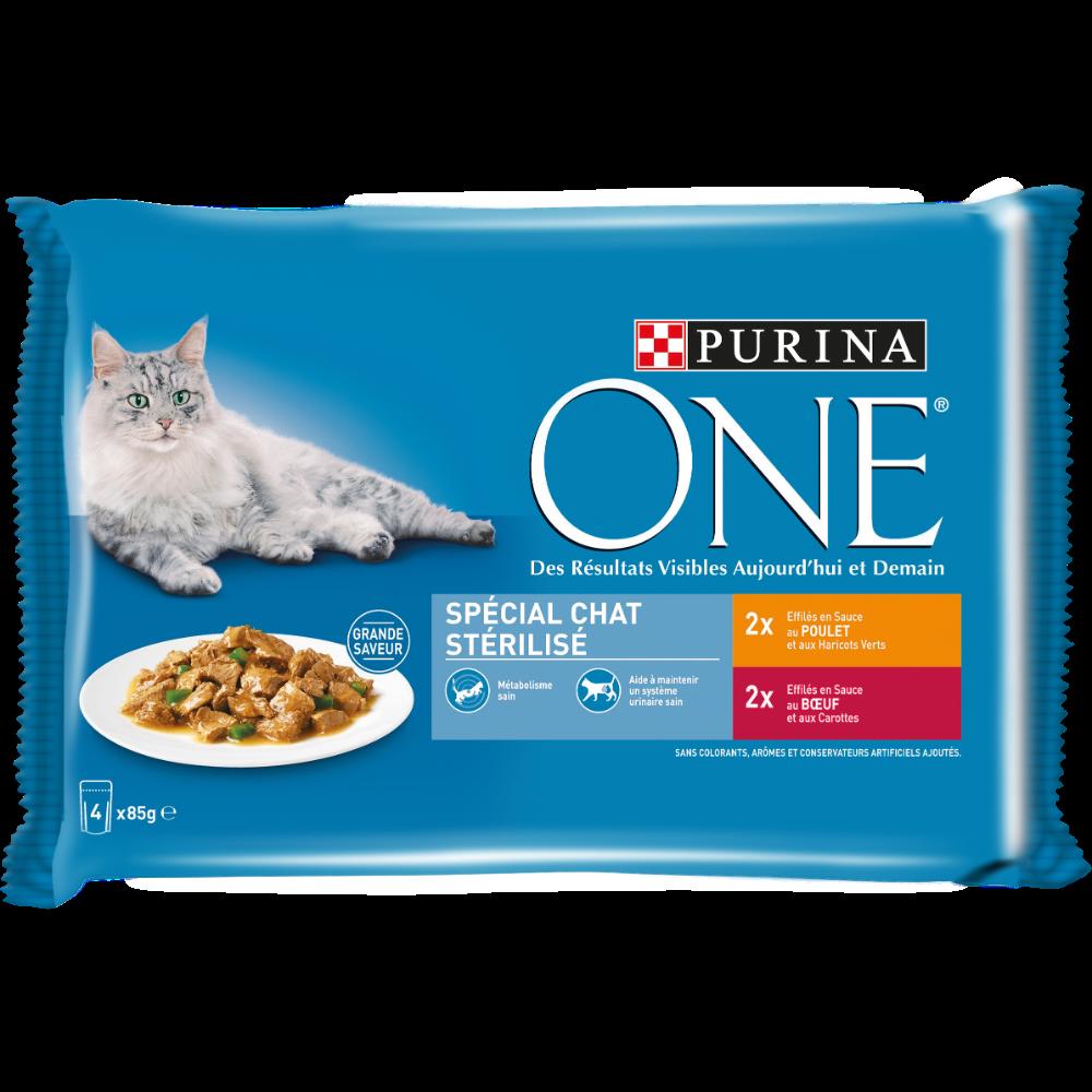 Sachets repas pour chat stérilisé au poulet et au boeuf, Purina One (4 x 85 g)
