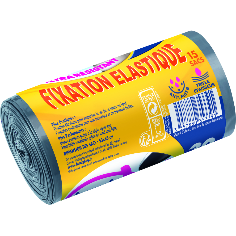 Sacs poubelle poignées coulissantes ultra résistants fixation élastique, Handy Bag (15 x 30 L)