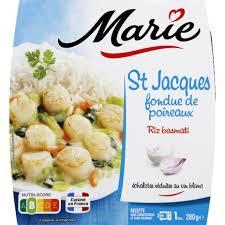 Saint Jacques fondue de poireaux riz basmati, Marie (280 g)