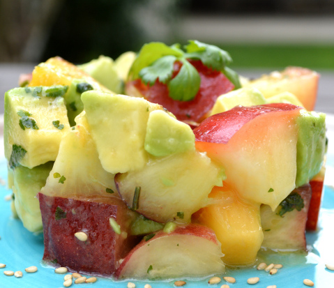 Kit salade de nectarine, avocat et coriandre