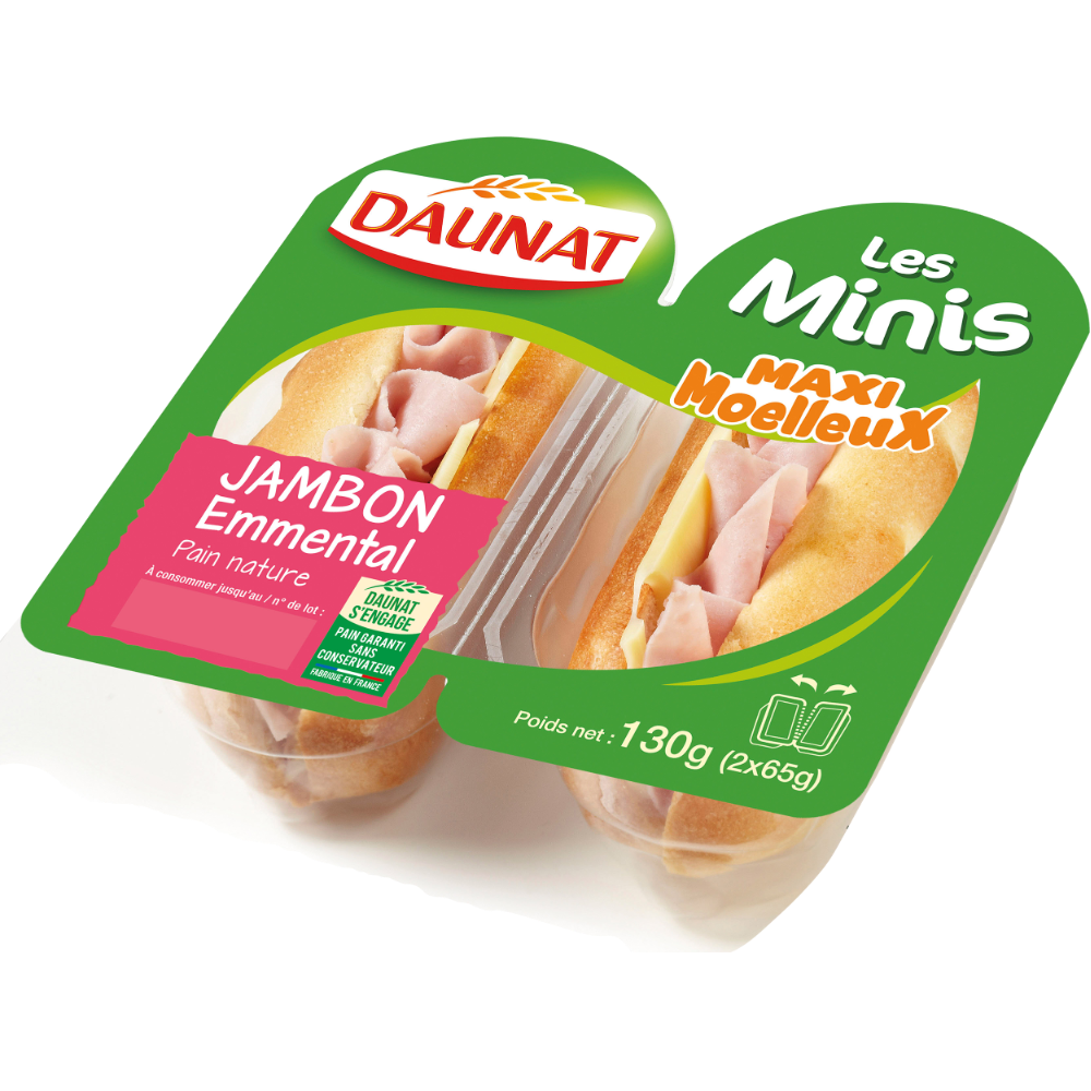Sandwich mini viennois jambon emmental, Daunat (2 x 65 g)