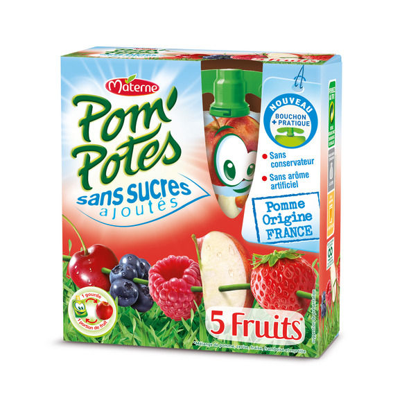 Pom'potes 5 fruits rouges, Materne (4 x 90 g)