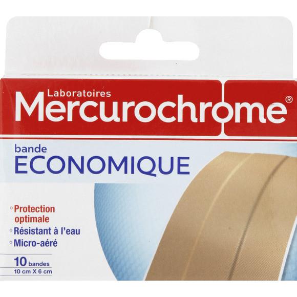 Bandes de pansement à découper 10 x 6 cm, Mercurochrome (x 10)