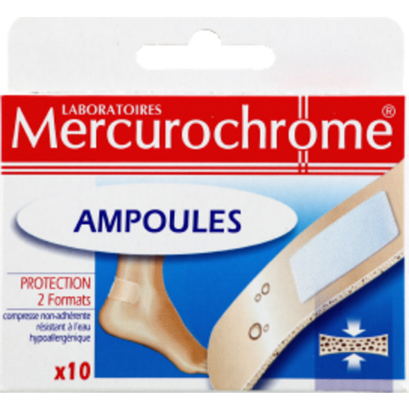 Pansements ampoules, Mercurochrome (x 10)