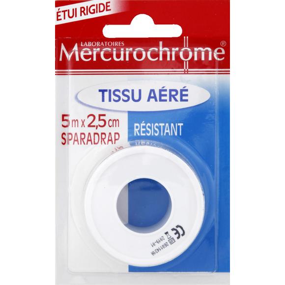 Sparadrap en tissu aéré, Mercurochrome (5 m x 2.5 cm)