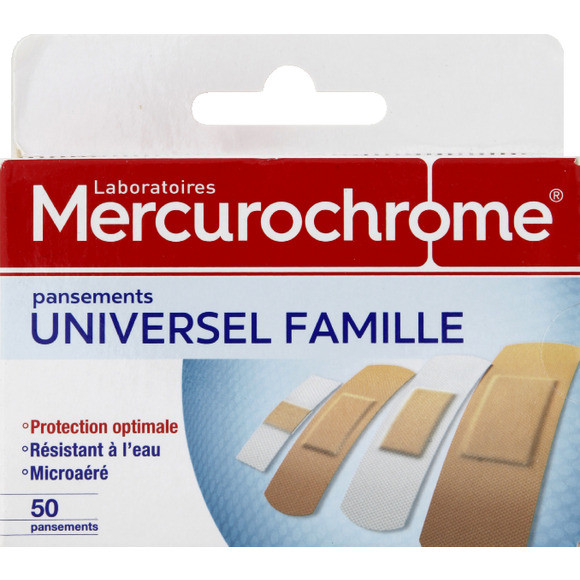 Pansements universels famille, Mercurochrome (x 50)