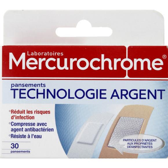 Pansements technologie argent anti-bactériens, Mercurochrome (x 30)