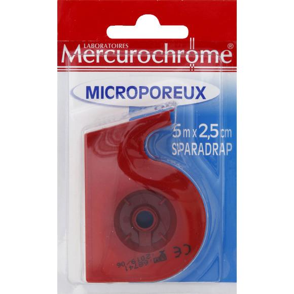 Sparadrap microporeux, Mercurochrome (5 m x 2.5 cm)