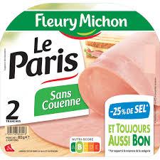Jambon Le Paris sans couenne, Fleury Michon (2 tranches, 80 g)