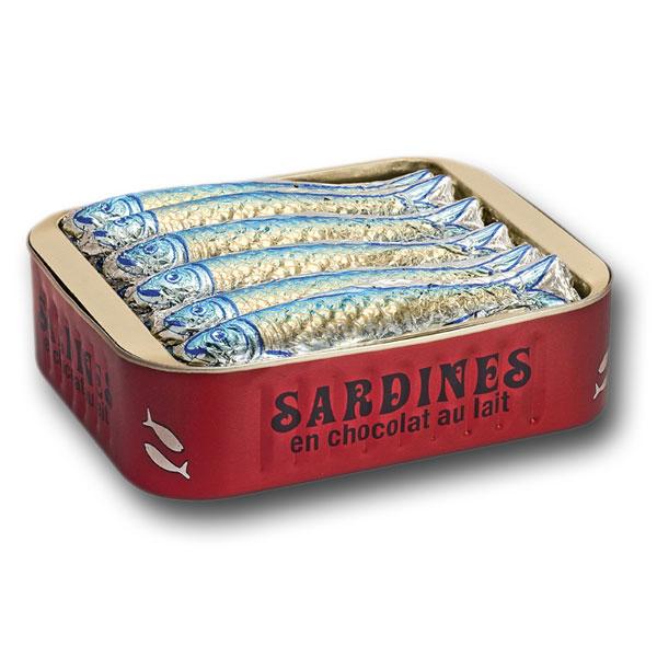 Sardines en boîte, chocolat au lait pur beurre cacao (x 12, 120 g)
