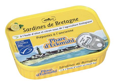 Sardines à l'huile d'olive et citron BIO, Le Phare d'Eckmuhl (135 g)