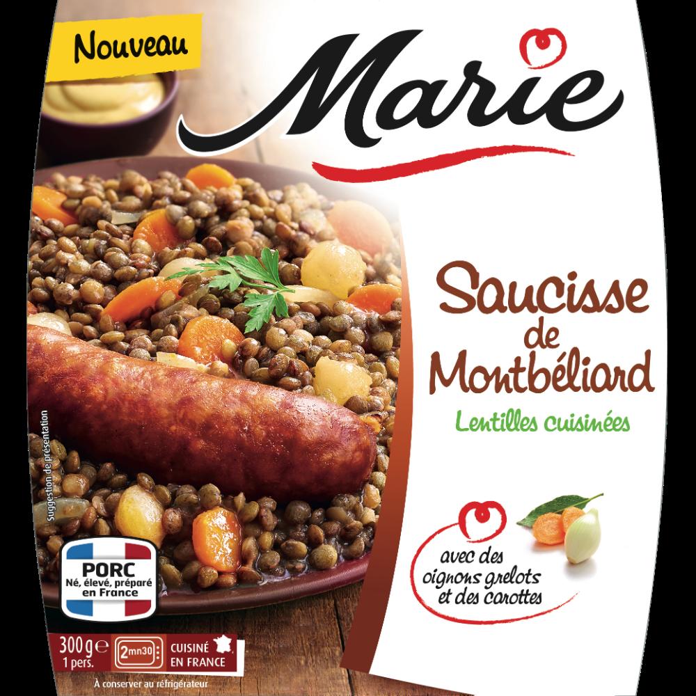 Saucisse de Montbéliard et lentilles cuisinées, Marie (300 g)