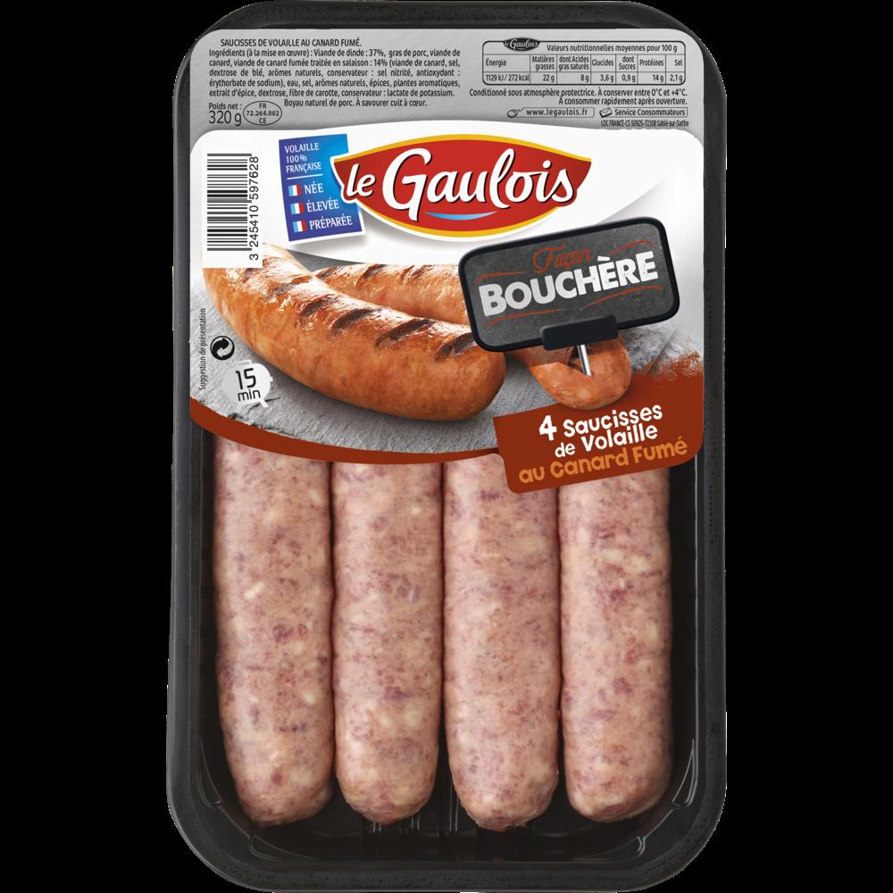 Saucisses de volaille au canard fumé, Le Gaulois (x 4, 320 g)