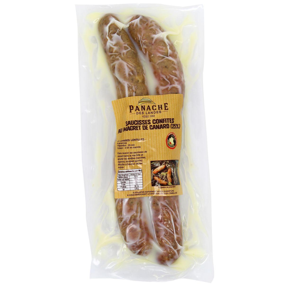 Saucisses de canard confites avec 25% de magret, Panache des Landes (x 4)