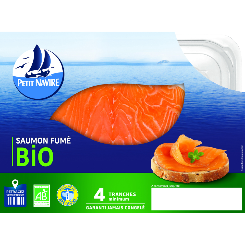 Saumon Atlantique fumé BIO, Petit Navire (4 tranches, 120 g)
