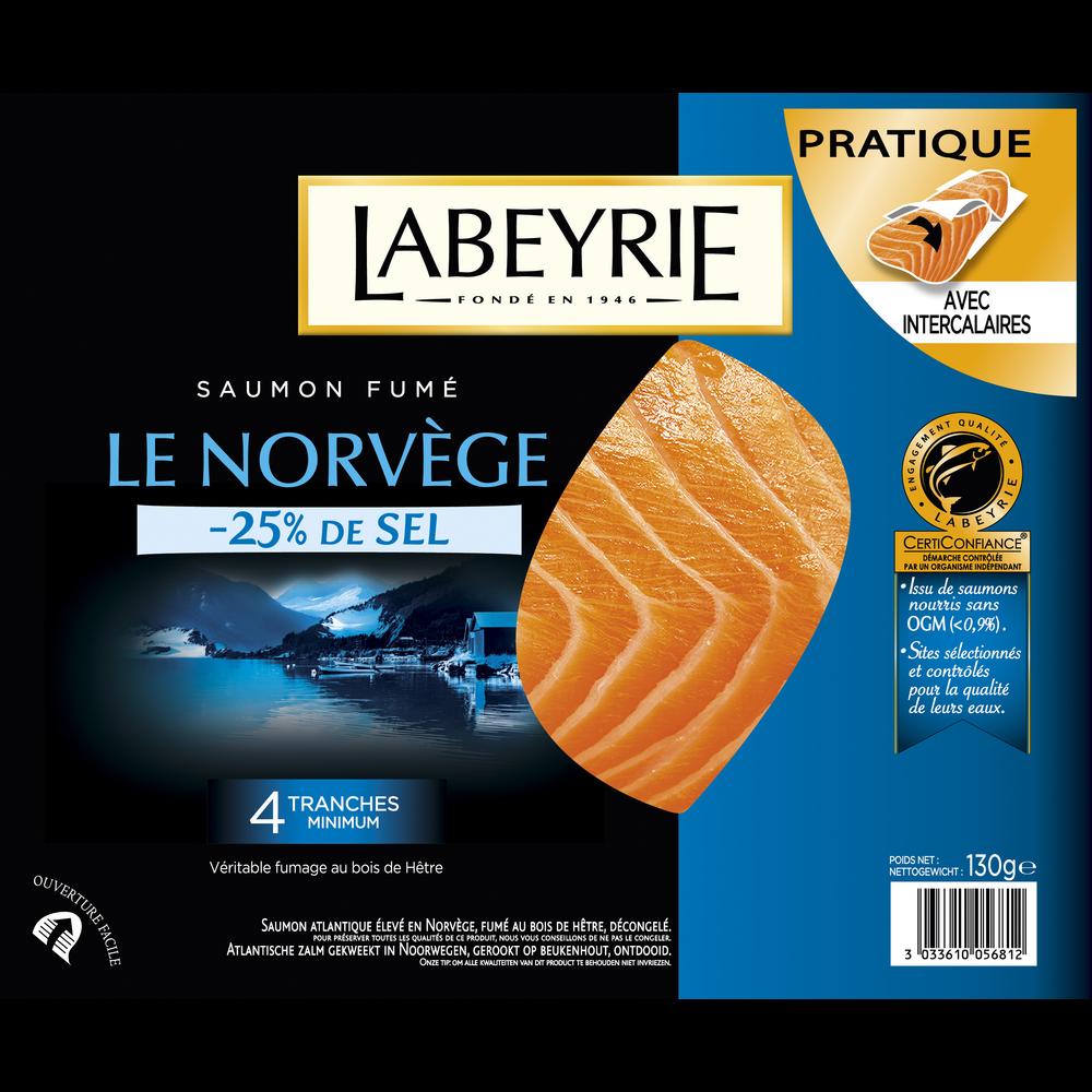 Saumon fumé -25% de sel, Labeyrie (4 tranches, 130 g)