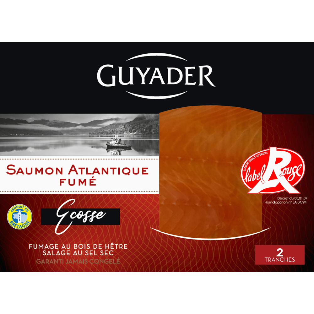 Saumon fumé Ecosse Label Rouge, Guyader (2 tranches, 80 g)
