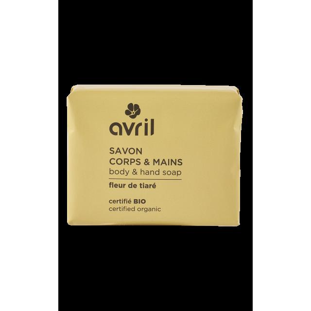 Savon corps & mains fleur de tiaré certifié BIO, Avril (100 g)