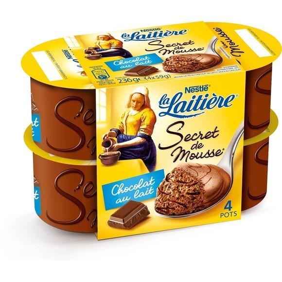 Mousse au Chocolat au lait, La Laitière (4 x 59 g)