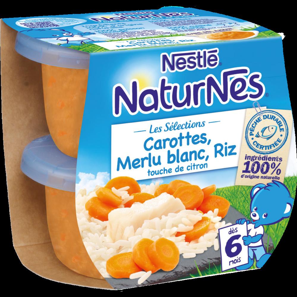 Les sélections carottes, merlu blanc, riz touche de citron - dès 6 mois, Naturnes Nestlé (2 x 200 g)