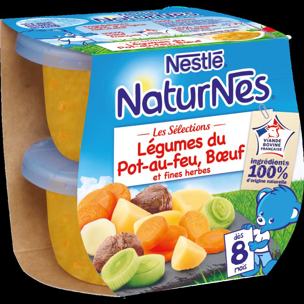 Les sélections légumes du pot au feu boeuf, fines herbes - dès 8 mois, Naturnes Nestlé (2 x 200 g)