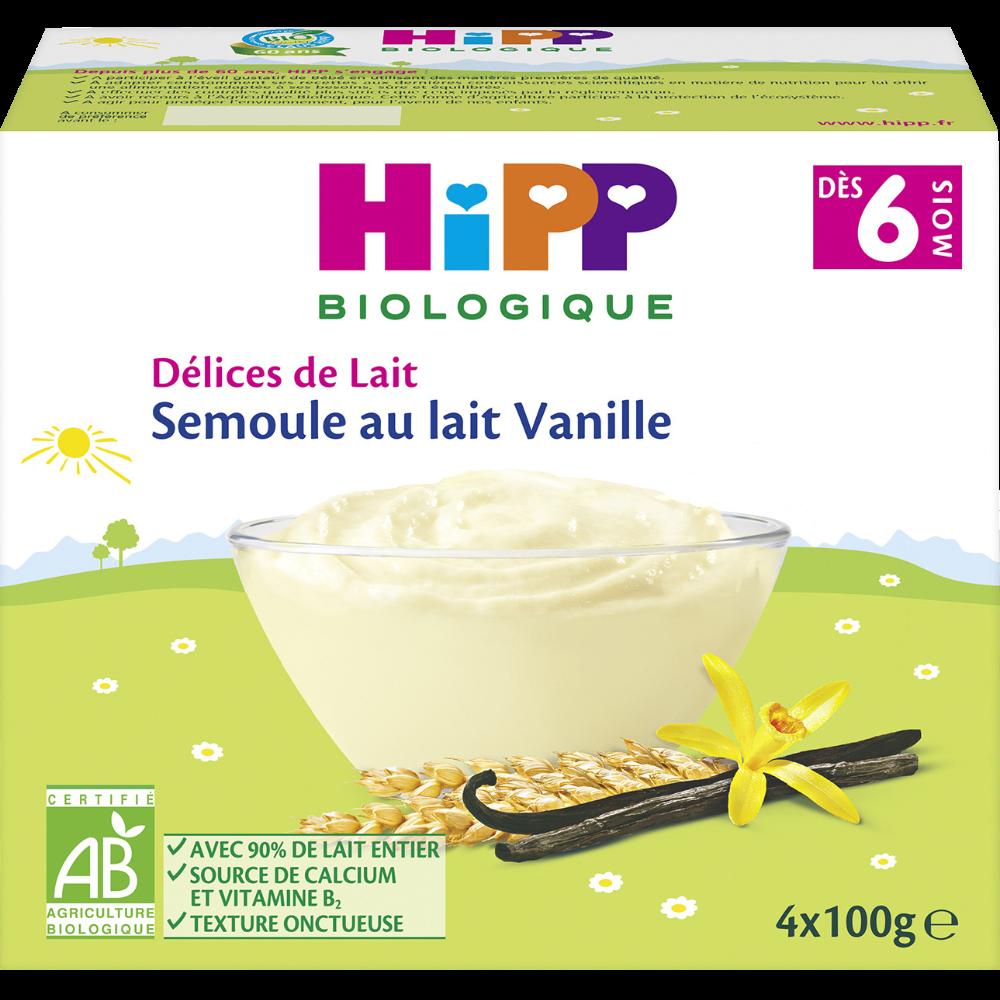 Délice de lait semoule au lait vanille BIO - dès 6 mois, Hipp (4 x 100 g)