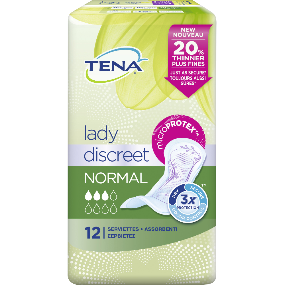 Serviettes pour incontinence normal discret, Tena Lady (x 12)