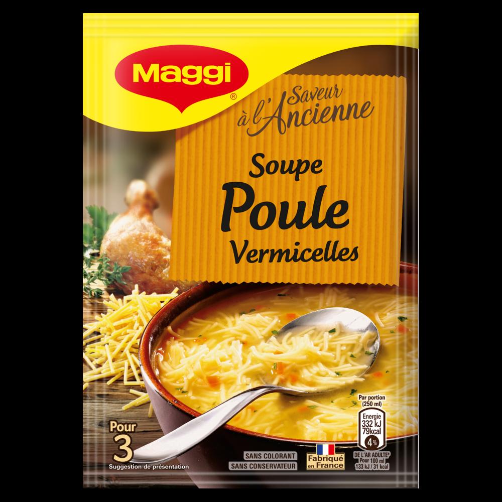 Soupe poule vermicelles déshydratée, Maggi (65 g)