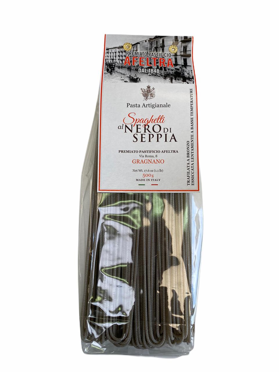 Spaghetti encre de seiche pâtes artisanales, Afeltra (500 g)