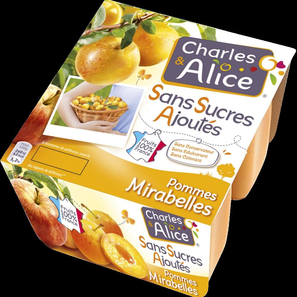 Compote pomme mirabelle sans sucre ajouté, Charles & Alice (4 x 97 g)