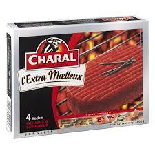 Steak haché L'extra moelleux 15% M.G, Charal surgelé (4 x 100 g)
