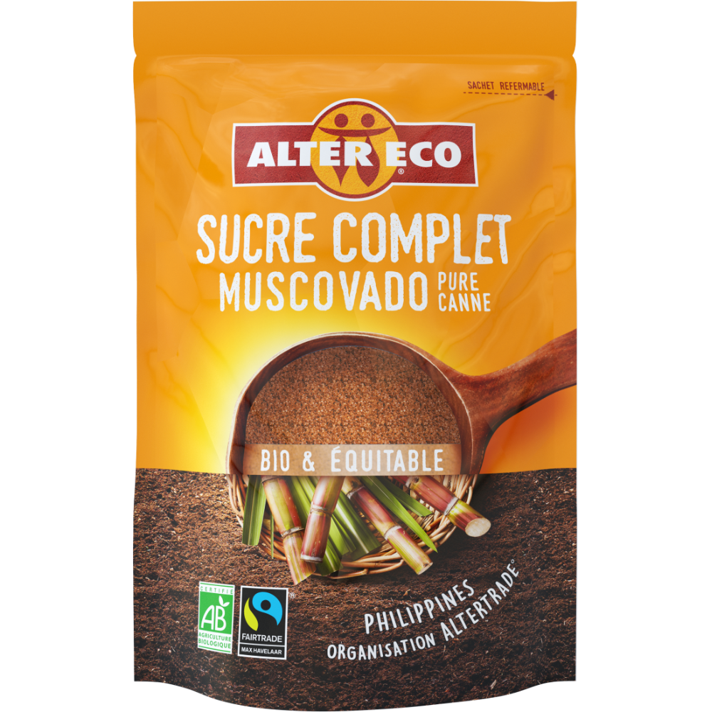 Sucre complet muscovado BIO en sachet refermable, Alter Eco (500 g)