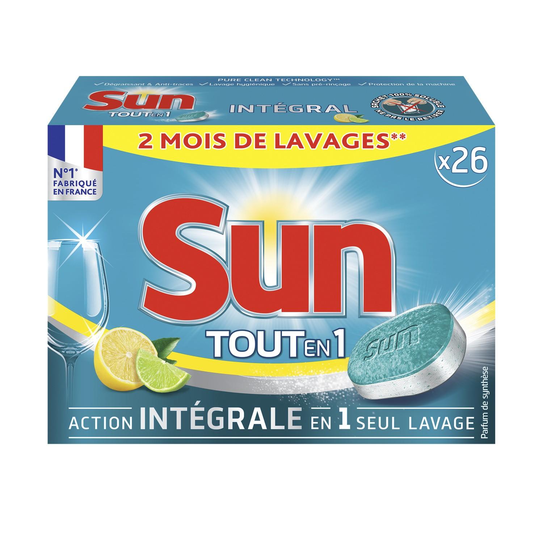Tablettes pour lave-vaisselle Tout en 1 citron, Sun (26 doses)