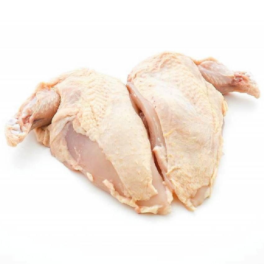 Suprêmes (filets + hauts de cuisse, délicieux) de poulet jaune fermier (x 2, 450 - 500 g)