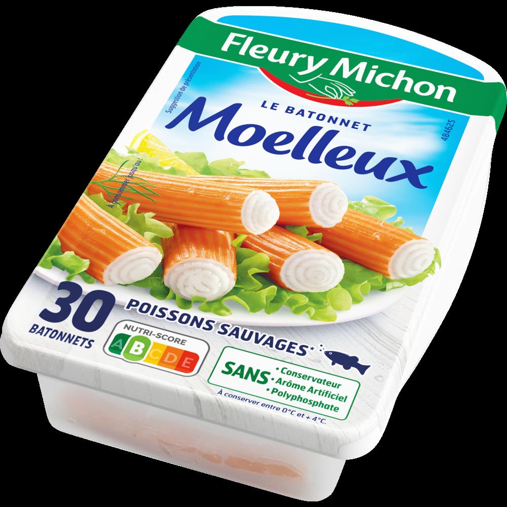 Bâtonnets de surimi Le moelleux saveur crabe, Fleury Michon (x 30, 500 g)