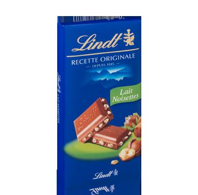 Chocolat au lait aux noisettes, Lindt (100 g)